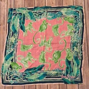 Lily Pulitzer monkey business silk scarf